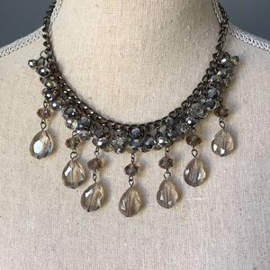 Antiqued Silver Toned Bead Drop Collar Necklace