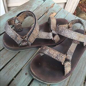 Women's Teva Multi Color Leather Sandals Size 6M