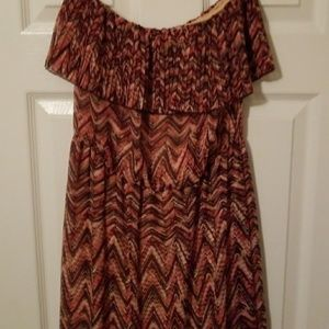 Pink and brown sz medium lined maxi dress