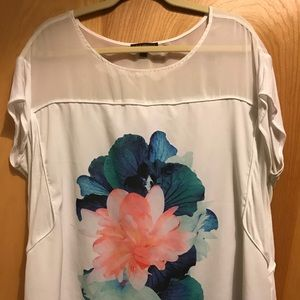 Know Bryant white floral sheer shoulder top 18/20