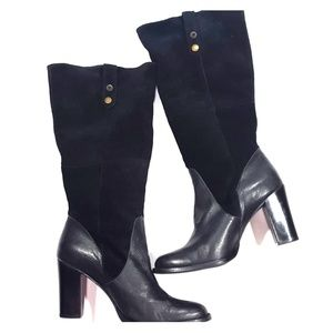 Babi Bello Black Leather Suede Boots 41