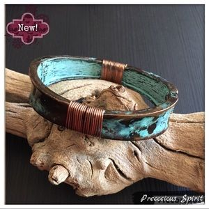 Patina turquoise Wire spring cuff Bangle bracelet