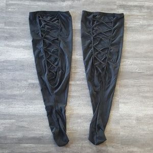 Black Laced Up Spandex Thigh Highs