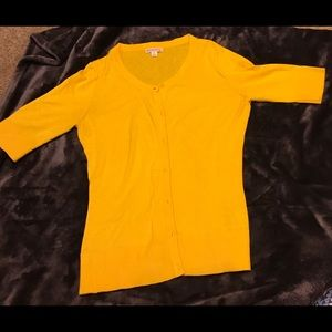 Yellow short-sleeves cardigan, size Small