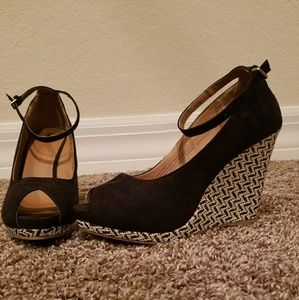 Ankle wrap wedge heels
