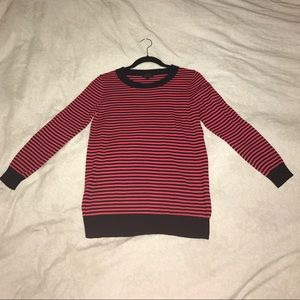 NWOT Red & Navy Striped J.CREW 3/4 Sleeve Sweater