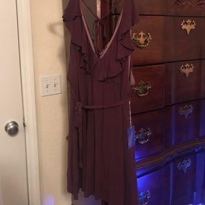 Deep plum dress w/ ruffle detail