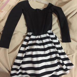 Little black dress with striped bottom