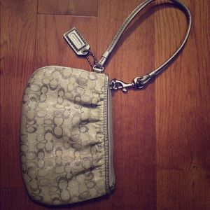 Silver Coach Wristlet with Silk Lavender Interior