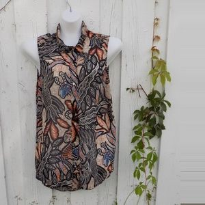 H&M Multli Color Print Sleeveless Blouse Size 12