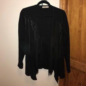 Leather fringe Zara black cardigan size Med/Small