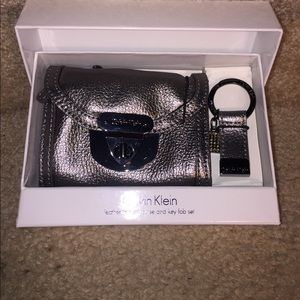 New in box Calvin Klein leather I'd coin purse fob