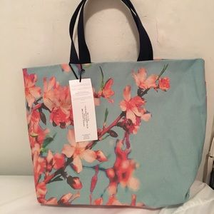 Floral canvas tote bag