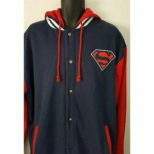 Navy Blue, Red and White Superman Jacket.