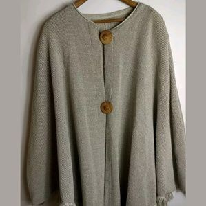 1970's Knit Sweater Poncho With Statement Buttons