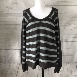 Free People Medium Blue and Brown Striped Sweater