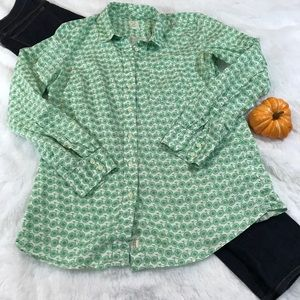 Gap Fitted Boyfriend Bicycle Button Down M green