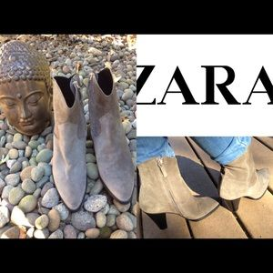 Grey Suede Zara Ankle Boots SZ 9 NWOT