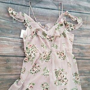 Cold Shoulder Floral Ruffle Chiffon Dress NWT