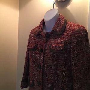 Talbots Red&Brown Weave crop Jacket 3/4sleeve 2P