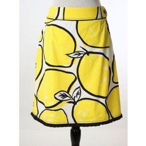 Anthropologie Still Life Lemon Skirt by Odille EUC