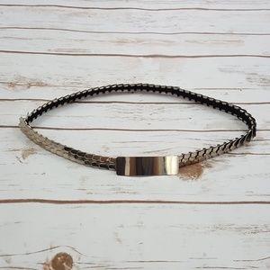 Vintage Women's Silver Metal Elastic Disc Belt