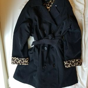 Vintage Black Trench w/ Leopard Print