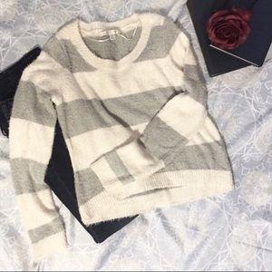 Lauren Conrad White and Gray Wide Stripe Sweater