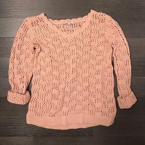 Dusty Rose Crochet Knit Sweater