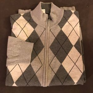NWT$75 Tasso Alba Argyle Full Zip Sweater XL