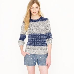 • J. Crew Marled Cable Pullover in Stripe Sweater