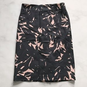 Ann Taylor Leaf Palm Printed Pencil Skirt