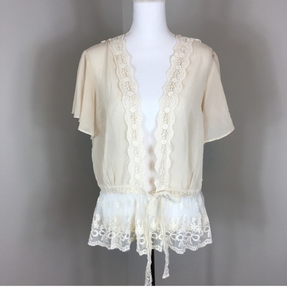Modcloth - ModCloth To Quiche Their Own Cream Lace Cardigan from ...