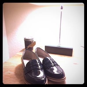 Navy patent leather loafers, Size 7, worn once!