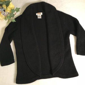 Talbots petite black cashmere silk open cardigan