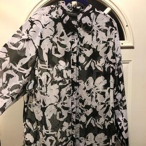Lane Bryant black and white sheer blouse