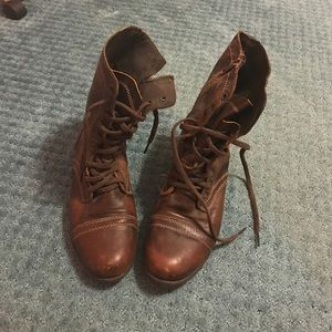 Brown Steve Madden combat boots