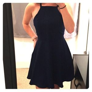 Navy blue halter neck line dress