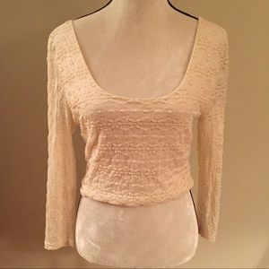 Anthropologie Pins and Needles lace crop top