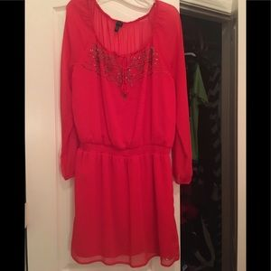 CLASSY Jessica Simpson red long sleeve dress XL