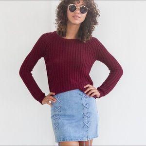 LAST 1 (XS) COMPTON Loose Knit Sweater Wine