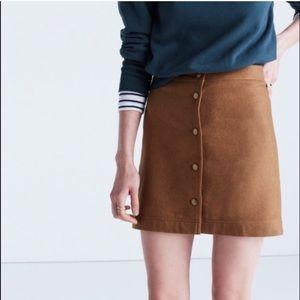 NWT Madewell Brown Button Mini Skirt