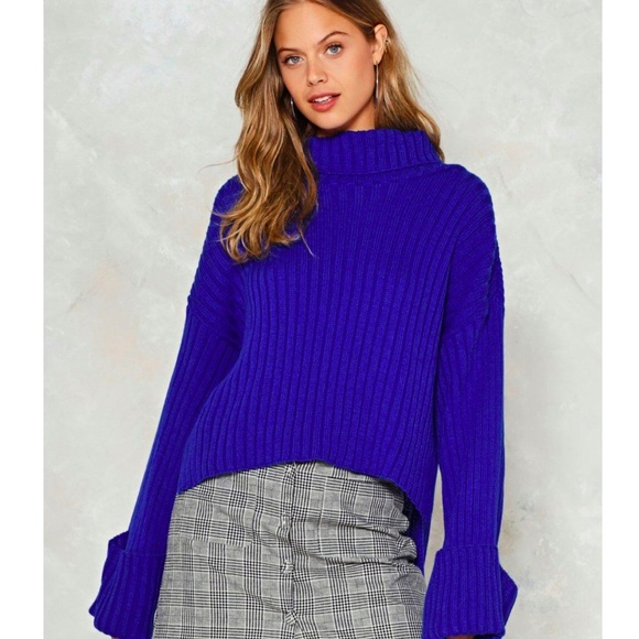 35% off Nasty Gal Sweaters - Nasty Gal Royal Blue Turtleneck ...