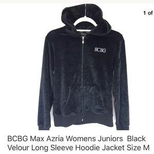 BCBG Max Azria Black Velour Long Sleeve Hoodie M