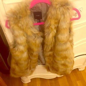 Tan faux fur vest NWOT!
