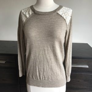 J. crew Ivory Lace Detail Sweater