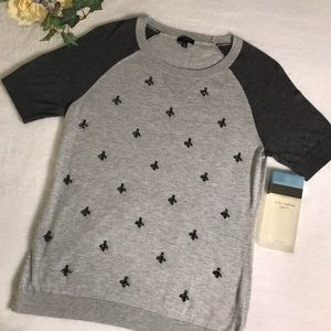 Talbots petite grey jeweled statement sweater top