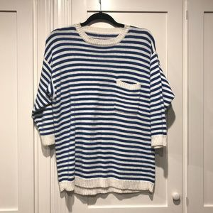 Royal Blue and White Striped Vintage Sweater