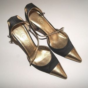 CHANEL Shoes - CHANEL Black/Bronze Satin and Leather Heels
