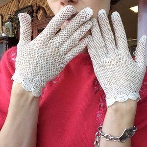 Vintage White Crochet Wedding Gloves